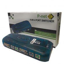 KVM سویچ ۱ به ۴ اتوماتیک PS2 پی نت (PNET)